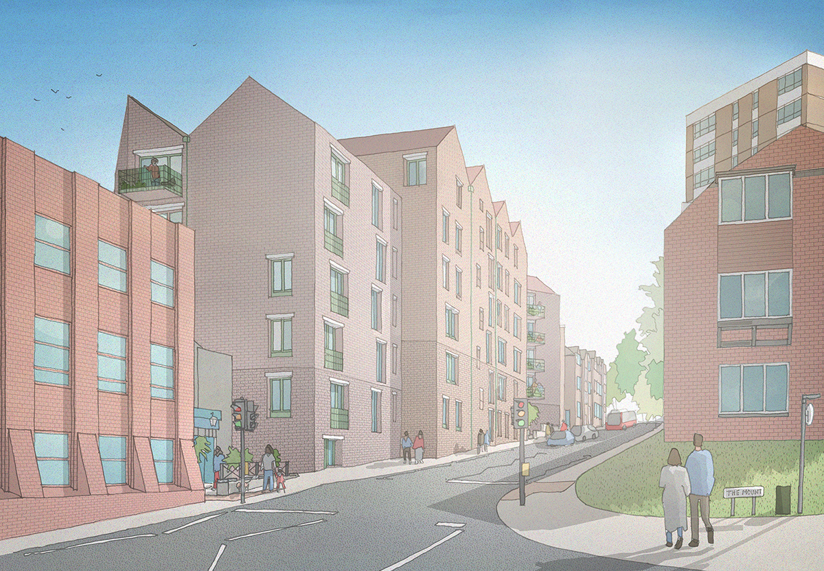 View of the proposals looking south, up Portsmouth Road