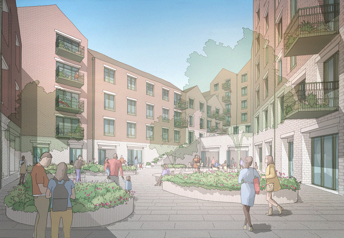 View of the central courtyard – an important part of the walkway through the proposed scheme